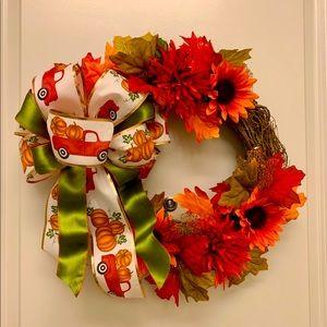 Red Truck Ribbon Fall Grapevine Wreath! Handmade!